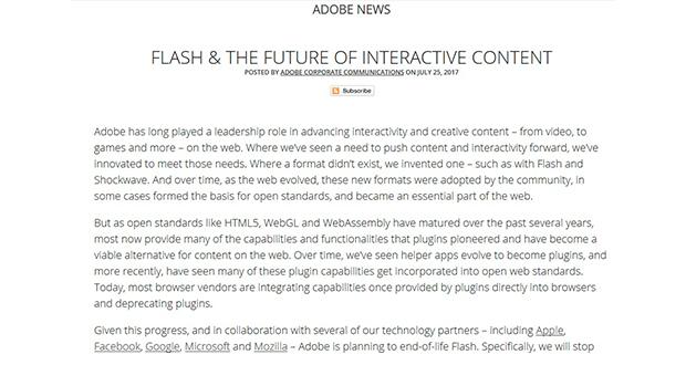 Adobe anuncia la muerte de Flash en 2020